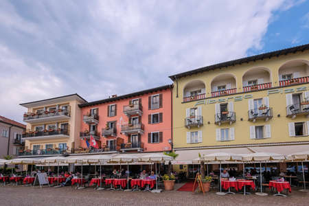 Ascona, Ticino, Switzerland, June 04, 2019: Colorful restaurants on lakeshore of Lago Maggiore lake, Ascona, Ticino, southern Switzerland Europe Editöryel