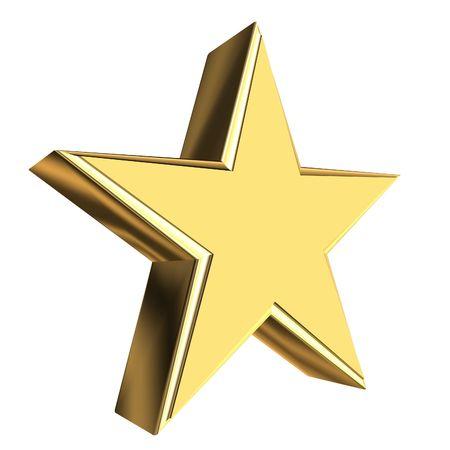 gold stars: Golden star 3D rendering Stock Photo