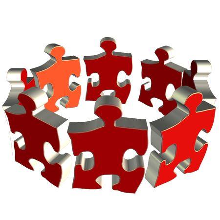 Puzzle team 3D rendering Stock Photo - 2427350