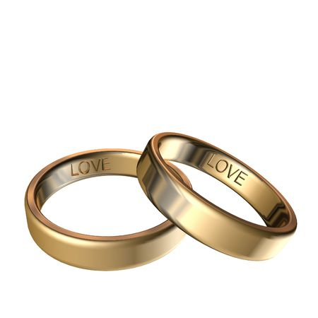 Golden rings with engraved love 3D rendering Banco de Imagens