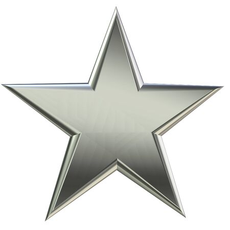 Silver star front view 3D rendering Stock Photo - 2427346