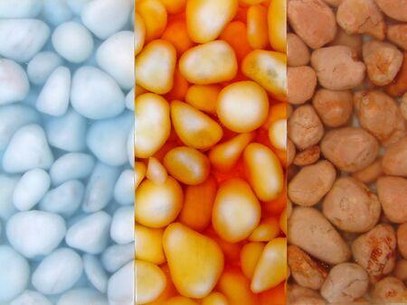 resin: guijarros en 3 colores de resina