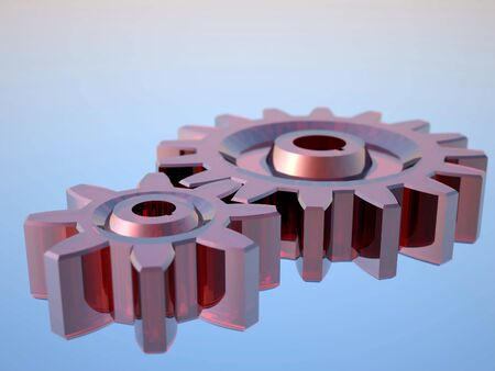 3D rendering glas gears on blue background Stock Photo - 2447694