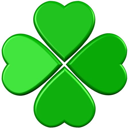 four leaf clovers: 4 hearts forming green 4 leaves clover