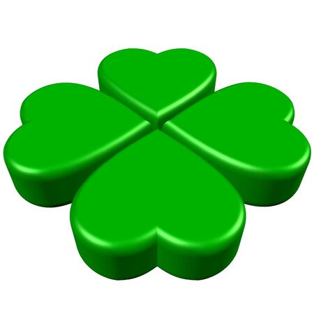fortune flower: 4 hearts forming green 4 leaves clover