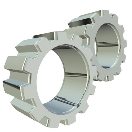 3D rendering of silver metal gears. Stock Photo - 2455769