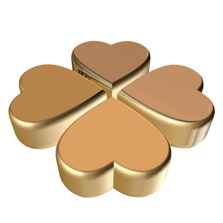 four fourleaf: Rendering 3D di 4 foglie d'oro trifoglio