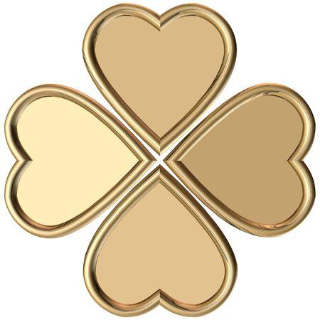 four fourleaf: Rendering 3D di golden 4 foglie trifoglio