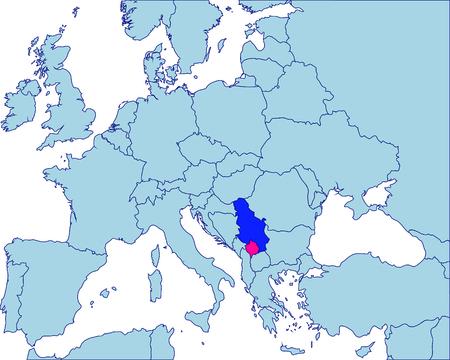 serbien: Serbien und Kosovo in Europa Karte