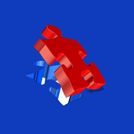 perfect fit: Puzzle perfect fit in red and blue colour