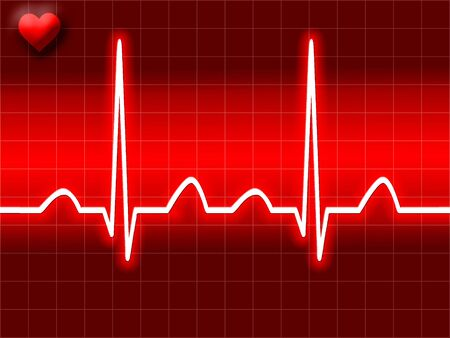 Red heart bit illustration of Electro-cardiograph screen illustration