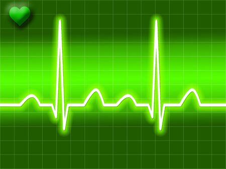 Green heart bit illustration of Electro-cardiograph screen Stock Illustration - 2612765