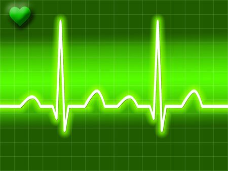 Green heart bit illustration of Electro-cardiograph screen Stock Illustration - 2612765