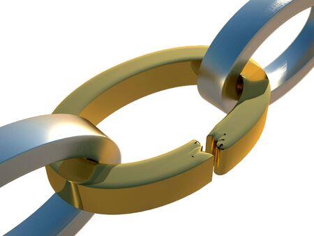 cadena rota: representaci�n 3D de la cadena rota de oro y de acero en el fondo blanco Foto de archivo
