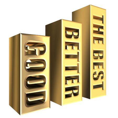 good better best: Golden graph chart  good better best on white background Stock Photo