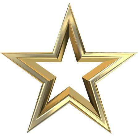 gold medal: 3D rendering of golden star front view