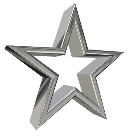 3D rendering of golden star side view Stock Photo - 2982828