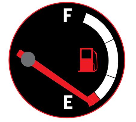 Vector illustratie van benzinemeter op auto dashboard