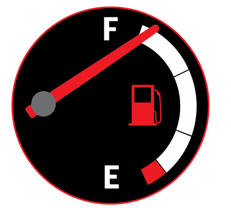 Vector illustration of fuel gauge on car dashboard