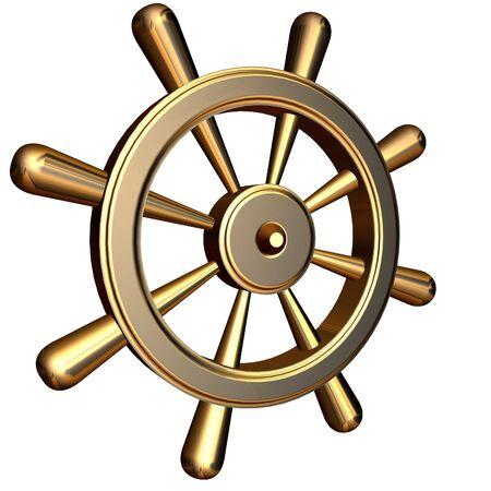 ruder: 3D-Rendering der goldenen Schiff's Lenkrad
