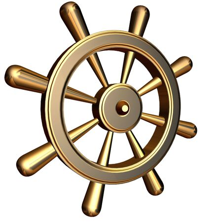 ship steering wheel: 3d rendering of golden ships steering wheel Stock Photo