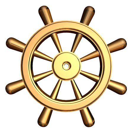ruder: 3D-Rendering der goldenen Schiff's Lenkrad Lizenzfreie Bilder