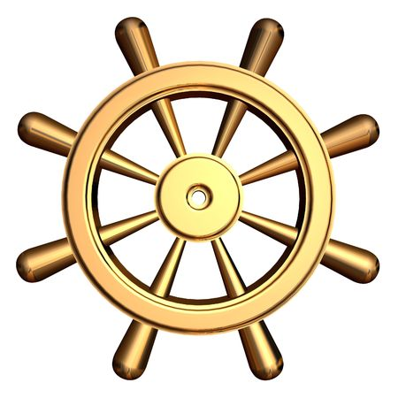 3d rendering of golden ships steering wheel Stock Photo