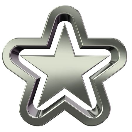 3D rendering of silver star on white background Stock Photo - 3326767