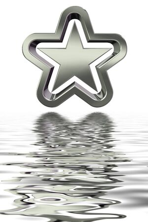 3D rendering of silver star with reflection in water Stock Photo - 3326768