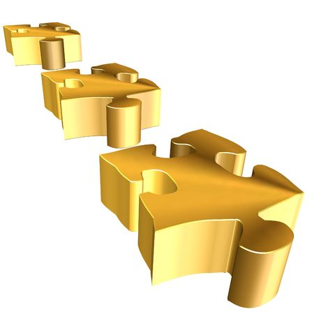 3d rendering of golden puzzle on white background Stock Photo - 3341452