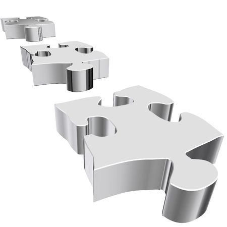 3d rendering of silver puzzle on white background Stock Photo - 3341451