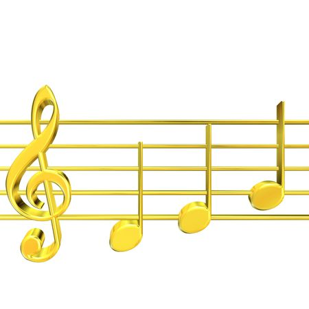 3D rendering of golden musicnotes on white background