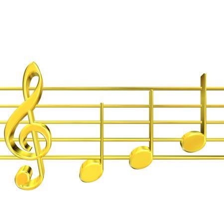 golden key: 3D rendering of golden musicnotes on white background