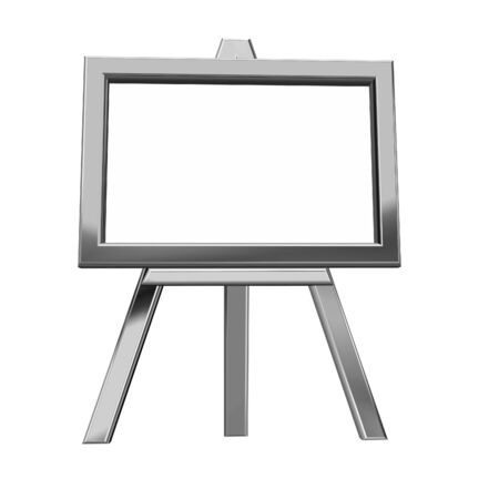 3D rendering of metal easel on white background
