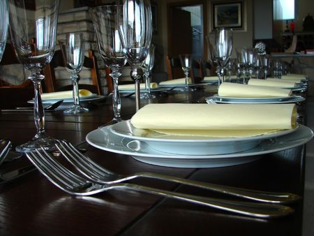 Brown wooden dinner table setting close up Stock Photo - 3611250