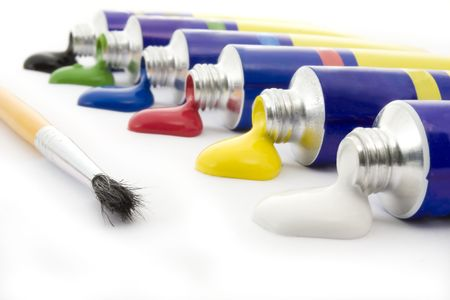 distemper: Colors and brush  on white background Stock Photo