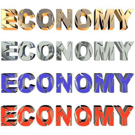 breakage: Broken economy  in four colors on white background