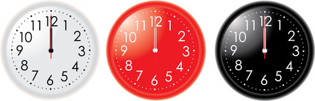 12 oclock: Different colors clocks  with hands on 12 oclock
