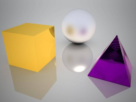 Three solids, sphere, cube and pyramid  Stock Photo