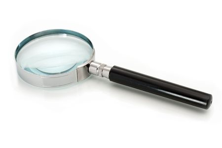 lupe: Magnifying glass isolated on white background