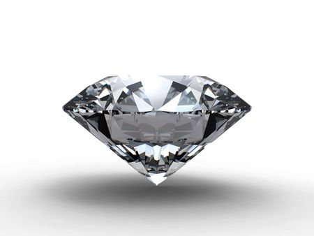 3D rendering of diamond on white background
