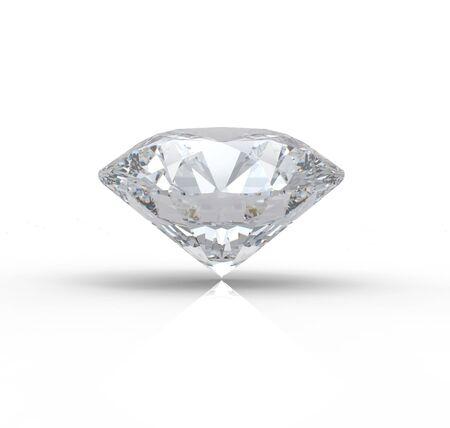 ダイヤモンド: 反射と白い背景の上のダイヤモンドの 3 D レンダリング 写真素材