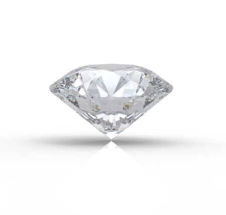 3D rendering of diamond on white background with reflection photo