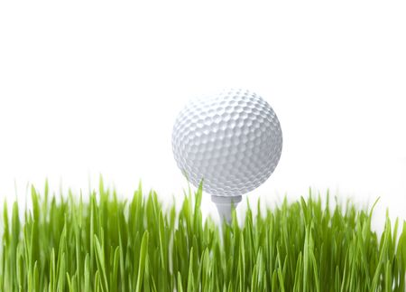 Golf ball on white background close up