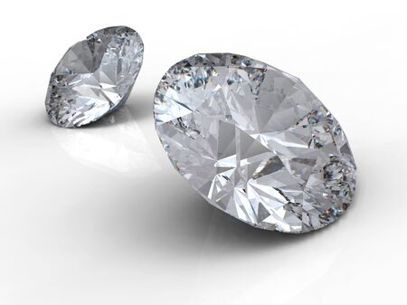 Diamonds on white background with reflection Standard-Bild