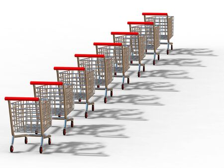 3D rendering of trolleys on white background photo