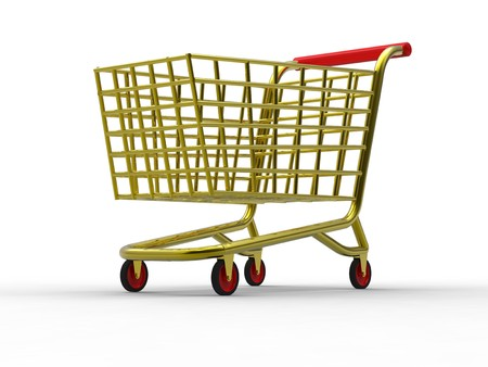 3D rendering of golden trolley on white background photo
