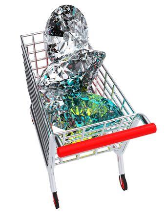 3D rendering of trolley full of diamonds photo