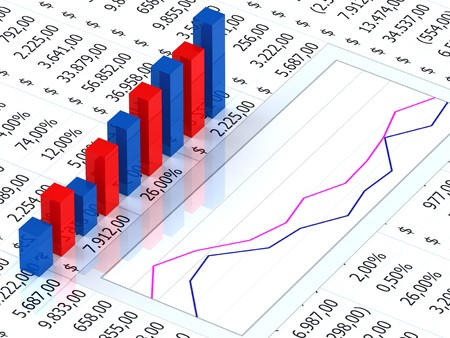 Spreadsheet with blue and red graph bars with numbers in background Stock Photo