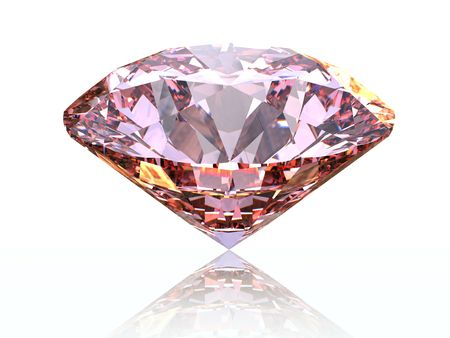 Pink diamond on  white background  with reflection